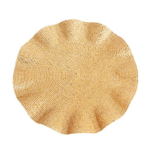 "Fennco Styles Curly and Glittery Traycloths Placemats Set of 4 - 15"" Round"