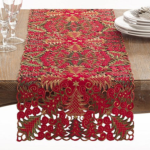 Fennco Styles Embroidered Christmas Tree Cutwork Tablecloth