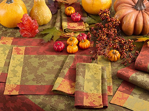 Fennco Styles Feuillage Collection Country Foliage Jacquard 100% Pure Cotton Table Linens - Multicolor Table Linens for Thanksgiving, Banquets, Special Events and Home Décor