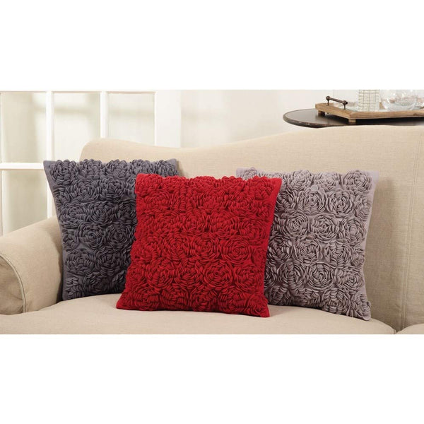 Fennco Styles Allover Felt Flowers Design Down Filled Decorative Throw Pillow
