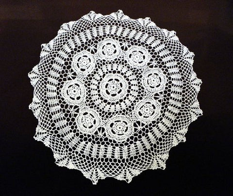 Fennco Styles Set of 2 Handmade Crochet Lace Placemat Doilies. 20 Inch Round. White Color.