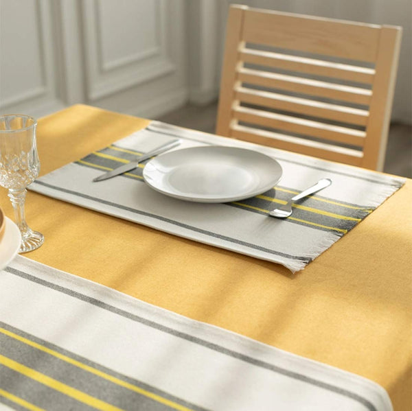Fennco Styles Netural Stripes Fringe Canvas Cotton Table Linens Collectioni