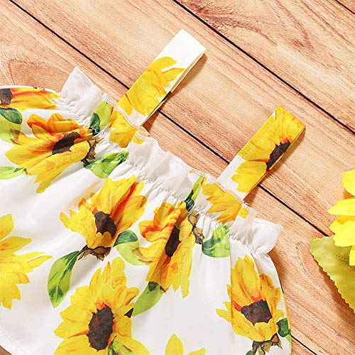 Styles I Love Infant Baby Girl Sunflowers Crop Top and Bloomers Sunsuit with Headband 3pcs Set Spring Summer Outfit