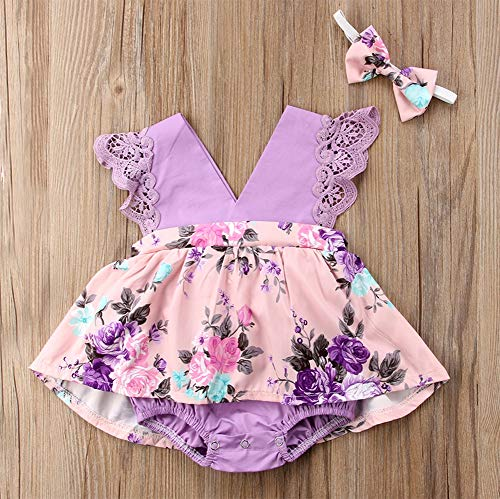 Styles I Love Baby Girl Flower Printed Ruffle V-Neck Romper Sunsuit with Headband 2pcs Set Birthday Special Event Outfit
