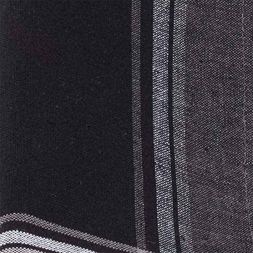 "Fennco Styles Contemporary Plaid Border Design 100% Cotton Cloth Napkins 20"" W x 20"" L, Set of 4 - Black Dinner Napkins for Dining Table, Banquets, Holiday Season, Christmas and Special Occasion"