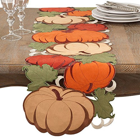 "Fennco Styles Holiday Thanksgiving Decorative Cutwork Pumpkin Table Runner - 14""x72"" Rectangular"