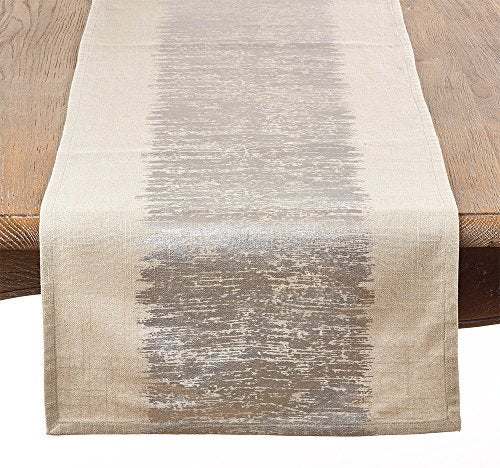"Fennco Styles Eleni Metallic Banded Cotton Table Runner - 16""x72"""