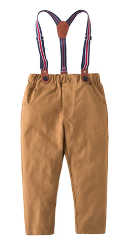 Toddler Little Boy Classic Chino Pants with Suspenders