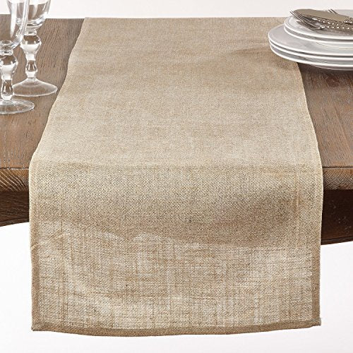 "Fennco Styles Classic Burlap Table Runner - 16""x72""- 2 Colors (Ivory)"