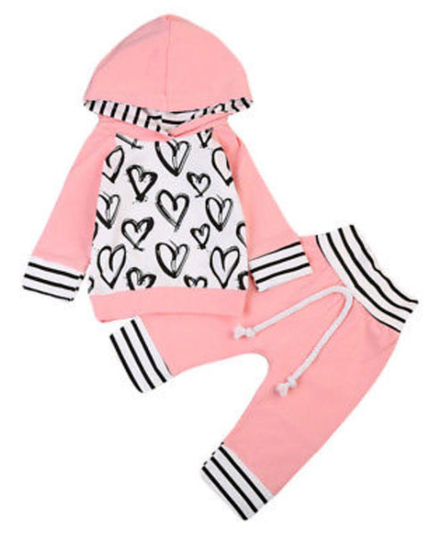Infant Baby Girl Hand-Painting Heart Long Sleeve Hoodie and Long Pants