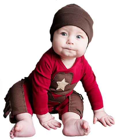Infant Toddler Baby Boy Sheriff Cowboy Fringed Photo Props Romper
