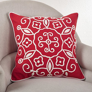 "Fennco Styles Embroidered Suzani Design Cotton Down Filled Decorative Throw Pillow, 20""L x 20""W"