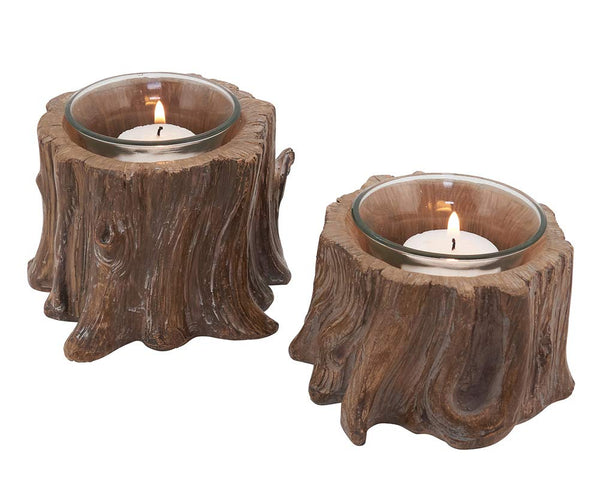 Fennco Styles Tree Stump Accent Piece Candle Holders - Set of 2 Decorative Votive Holders for Thanksgiving, Christmas Dinner, Family Gathering, Special Event & Home Decor