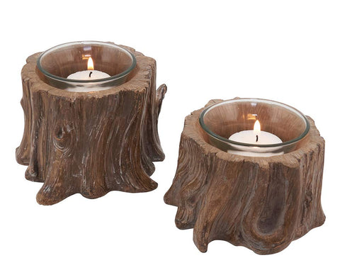 Tree Stump Accent Piece Candle Holders - Set of 2
