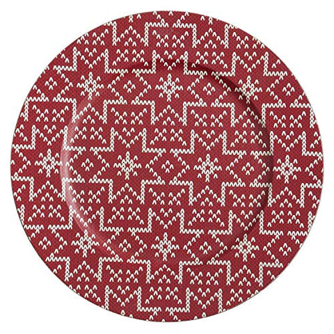 "Fennco Styles Christmas Sweater Design Decorative Charger Plates 14"" Round, Set of 4"