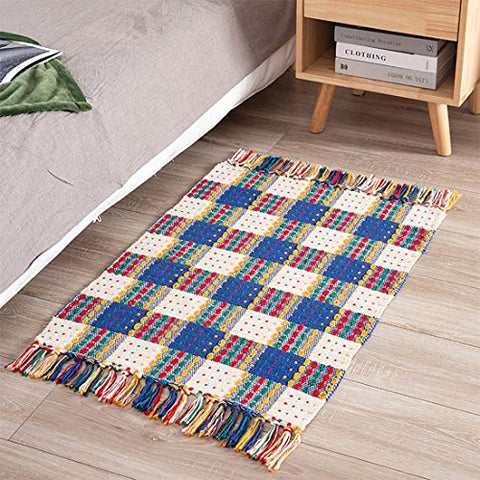 Fennco Styles Multicolor Woven Plaid Hand Knotted Tassel Boho Small Area Rug - Cotton Blend Carpet Indoor Outdoor Floor Mat for Living Room, Entryway, Bedroom and Floor Décor