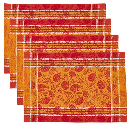 Fennco Styles Harvest Pumpkin and Leaf Jacquard 100% Cotton Tablecloth - Multicolor Table Cover for Holiay, Home Décor, Everyday Use, Christmas Gathering and Special Occasion
