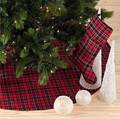 "Fennco Styles Highland Holiday Red & Black Plaid Design 13""x19"" Stocking"