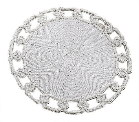 "Fennco Styles Glass Beads Chain Link Design Beaded Placemat One Piece 15"" Round - 4 Colors (White)"