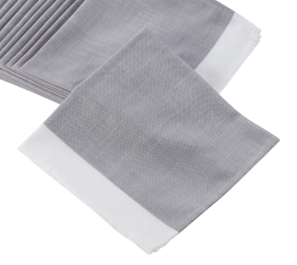 Fennco Styles Classic Banded Border Tablecloth - Grey and White Tablecloth for Home, Kitchen, Banquets, Special Events and Holiday Décor