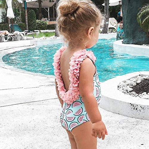 stylesilove Toddler Kid Girl 3D Flower Straps Backless One-Piece Solid Color Swimsuit Beach Bathing Swimwear, 3 Colors