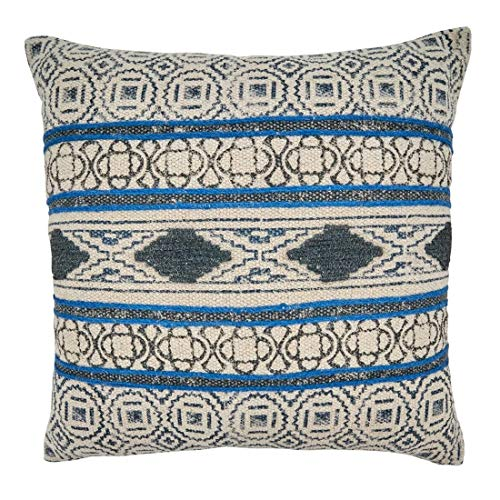 Fennco Styles Boho Rug Design Cotton Decorative Throw Pillow 20-Inch Square - Blue Geometric Cushion for Home, Couch, Living Room, Office and Bedroom Decor
