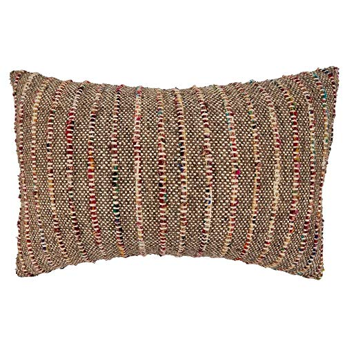 Fennco Styles Corded Design Pure Cotton Decorative Throw Pillow – Luxury Textured Cushion for Couch, Sofa, Bedroom, Office and Living Room Décor