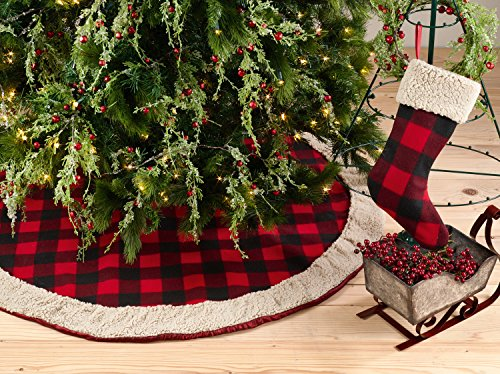 "Fennco Styles Buffalo Plaid with Sherpa Border Tree Skirt 56"" Round - Red Tree Skirt for Home, Christmas Tree, Holiday Decoration and Special Events"