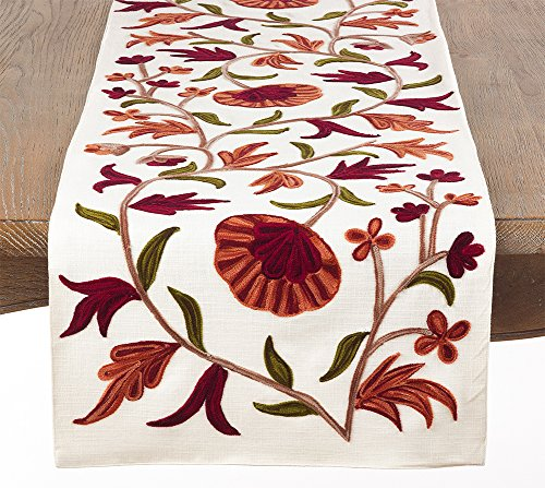 "Fennco Styles Luxurious Embroidered Design 100% Cotton Home Linen Collection - 16"" X 72"" Table Runner"