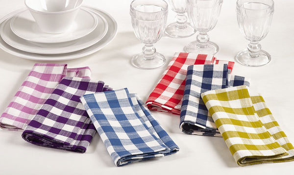 Fennco Styles Gingham Collection Farmhouse Plaid Cotton Table Linens