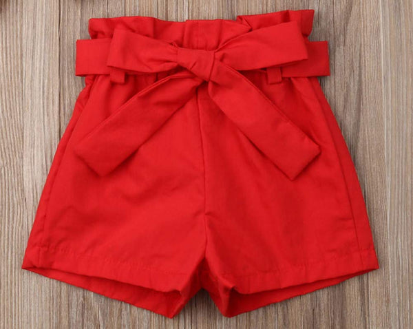 Baby Toddler Girl Red Check Top and Shorts with Waist Belt 3pcs Cotton Outfit