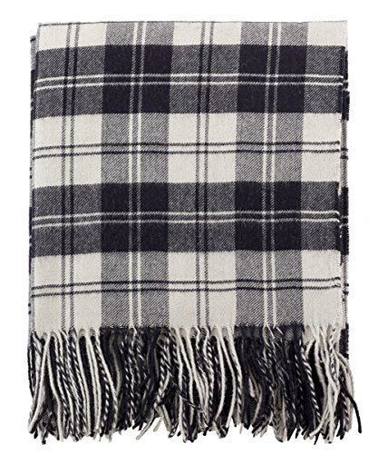"Fennco Styles Plaid Design Wool Blend Decorative Throw Blanket, 50"" x 60"", Black & White"
