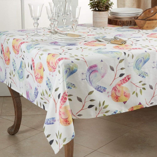Fennco Styles Modern Flock of Birds Design Table Linen Collection - Table Cover for Home Décor, Dining Table, Banquets, Holidays and Special Occasions