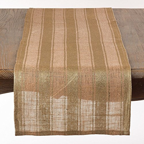 "Fennco Styles Striped Foil Burlap Table Runner - 16""x72""- 2 Colors (Natural)"