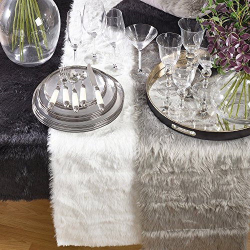 Fennco Styles Juneau Faux Fur Table Runner