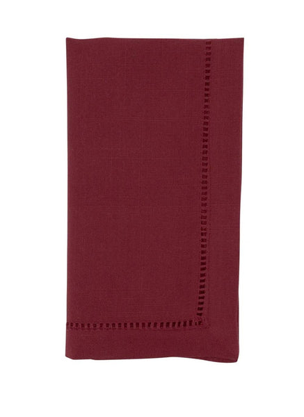 Fennco Styles Classic Hemstitch Design Table Linen Collection - Burgundy Red Table Cover for Home Décor, Dining Table, Banquets, Holidays and Special Occasions