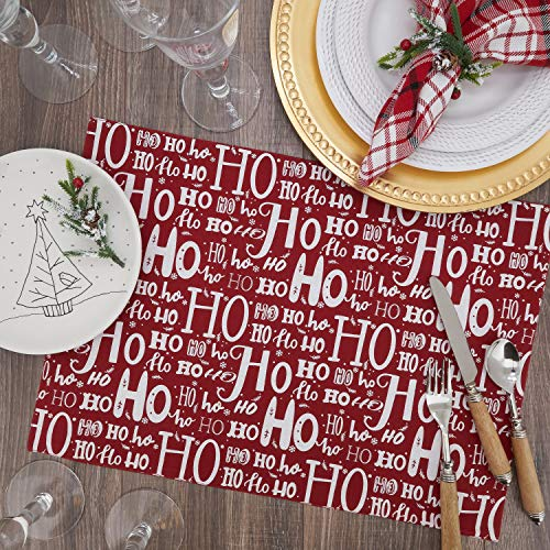 "Fennco Styles Ho Ho Ho Holiday Table Runner 16"" W x 72"" L - Red Cotton Table Cover for Banquets, Christmas, Special Events and Home Décor"