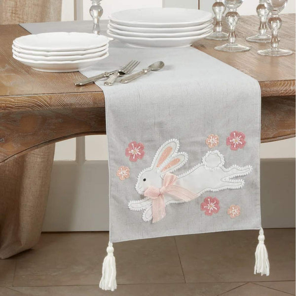 Fennco Styles Holiday Bunny Tasseled Table Runner 16 x 72 Inch