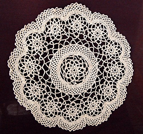 Fennco Styles 4-Piece Handmade Tatting Lace Floral Cotton Traycloth Doilies, 10-inch Round