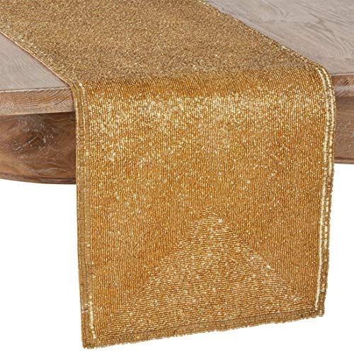 Fennco Styles Luxe Beaded Design Table Runner 13 x72 Inch - Gold Table Cover for Home Décor, Dinig Table, Banquets, Wedding and Special Events