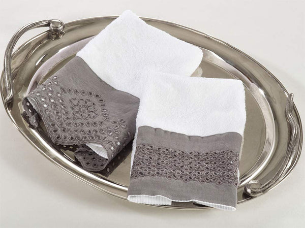 Fennco Styles Two Tone Terry Cotton Towels with Linen Border 12x20 Inch Guest Towels, Set of 4