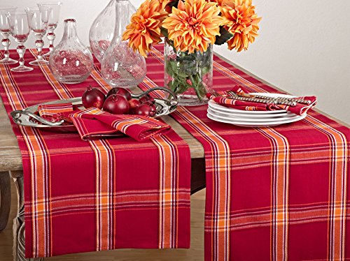 Fennco Styles Holiday Flannery Plaid Cotton Table Runner 16 x 72 Inch - Red Table Runner for Christmas, Home Decor, Banquets, Family Gathering and Special Occasion