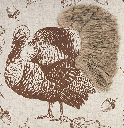 Fennco Styles Thanksgiving Turkey Collection Vintage Engraving Illustration Faux Fur Appliqué Natural Table Runner for Home Décor, Thanksgiving and Special Occasions