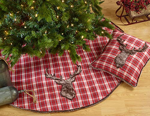 Fennco Styles Faux Fur Reindeer Christmas Plaid Tree Skirt 54 x 54 Inch - Red Tree Skirt for Home, Holiday Decor, Special Occasion