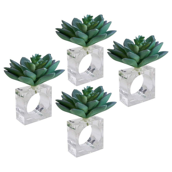 Succulent Design Decorative Napkin Rings, Set of 4