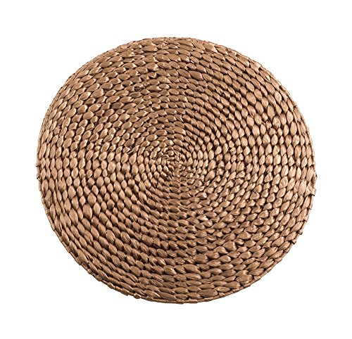 Fennco Styles Natural Water Hyacinth Decorative Round Hand Woven Rattan Placemat (1 Pack, Gold)