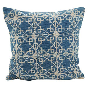 Fennco Styles Distressed Bohemian 20 Inch Square Cotton Down Filled Decorative Throw Pillow – Indigo Blue High-End Cushion for Couch, Sofa, Bedroom, Office and Living Room Décor