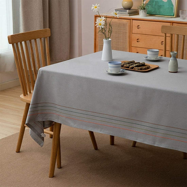 Fennco Styles Colorful Striped Tassel Cotton Woven Tablecloth