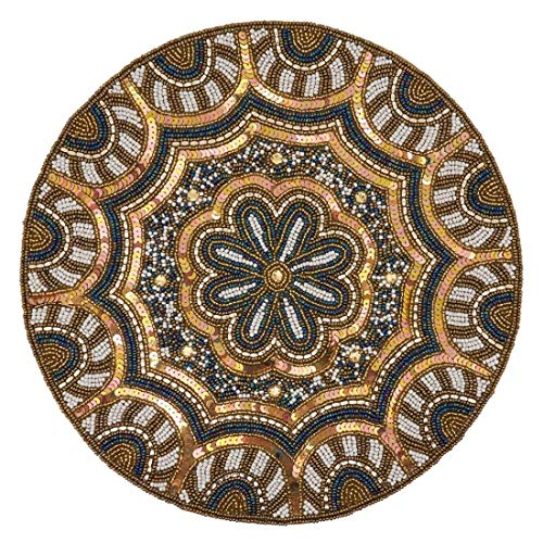 "Fennco Styles Hand Beaded Elegant Floral Placemat 14"" Round, 1-Piece - Gold Table Mat for Banquets, Christmas, Special Events and Home Décor"
