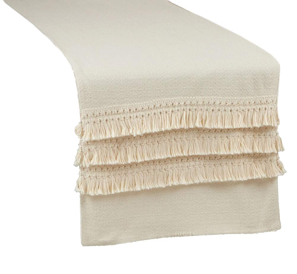Fennco Styles Multilayered Fringe Lace Design Cotton Table Runner 16 x 72 Inch